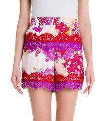 silk twill print shorts