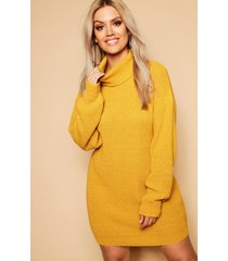 sweaterjurk met col, mosterd