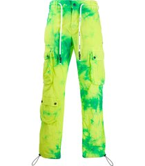 palm angels tie-dye army trousers - green