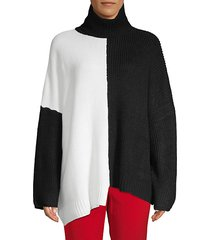 two-tone oversized turtleneck sweater
