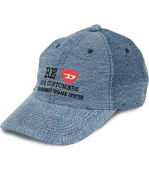 diesel red tag x readymade embroidered denim cap - blue