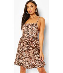 animal print strappy smock dress, brown