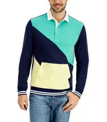 club room men's colorblocked rugby sweatshirt, created for macy's