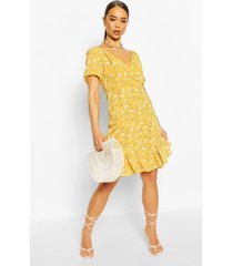 asymmetrische a-line mini jurk met ruches en pofmouwen, mosterd