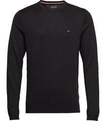 core cotton-silk cneck stickad tröja m. rund krage svart tommy hilfiger