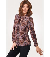 jersey blouse mona bruin::rood::berry::wit