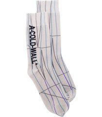 a-cold-wall* line pattern socks - neutrals