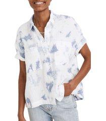 women's madewell tie dye lightspun gauze beachside shirt, size xx-small - blue