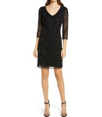women's pisarro nights beaded v-neck cocktail dress, size 4 - black