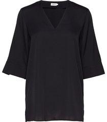 silk tunic blouses short-sleeved svart filippa k