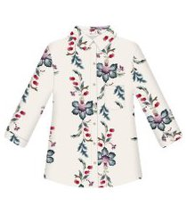 lez a lez - camisa tecido rayon stars manga 3/4 ornamental