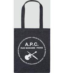 a.p.c. men's guitare poignard tote bag - indigo