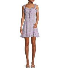 avantlook women's ruffle floral flare dress - purple - size xs