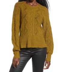 women's vero moda joel cable knit sweater, size x-small - green