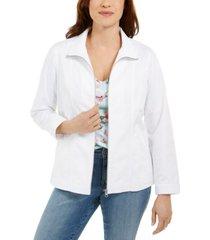 karen scott petite zippered jacket, created for macy's