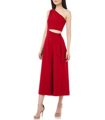 women's love by theia one-shoulder crop jumpsuit