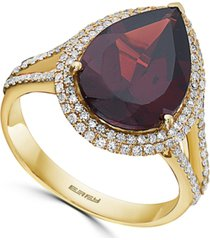effy rhodolite garnet (6-1/10 ct. t.w.) & diamond (1/2 ct. t.w.) teardrop halo ring in 14k gold