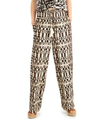inc petite batik-print drawstring pants, created for macy's