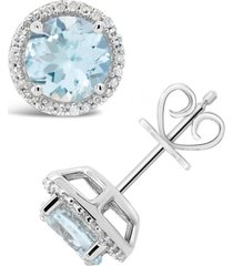 aquamarine (2-1/2 ct. t.w.) and diamond (1/6 ct. t.w.) stud earrings in sterling silver