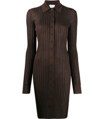 bottega veneta ribbed knit dress - brown