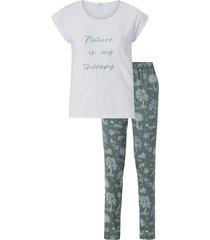 pyjamas med topp med kort ärm och mönstrad byxa
