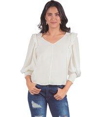 blusa adrissa con textura escote v con volumen en manga blanca
