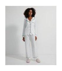 pijama americano longo em viscolycra com estampa best mom | lov | branco | gg