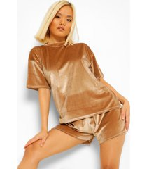 petite velours t-shirt en pyjama set met shorts, champagne