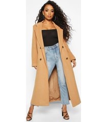petite belted double breasted wool look coat, camel