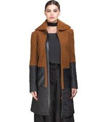 casaco belfast 7/8 caramelo/preto