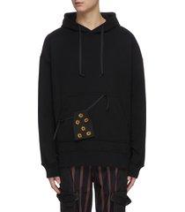 adjustable floral embroidered pocket hoodie