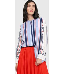 camisa azul-blanco-rojo lacoste