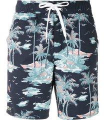 lacoste short de praia estampado - azul