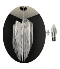 kit lustre cristal acrílico 42x102 + 1 lâmpada led acl35