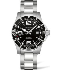 longines hydroconquest automatic bracelet watch, 41mm in silver/black/silver at nordstrom
