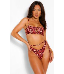 fiery leopard criss cross bandeau bikini, red