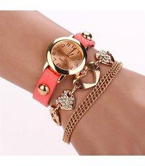 reloj mujer cadena corazon - salmon