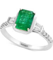 gemstone bridal by effy emerald (1-3/8 ct. t.w.) & diamond (1/4 ct. t.w.) engagement ring in 18k white gold
