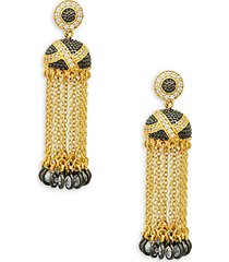 textured ornaments tassel drop earrings