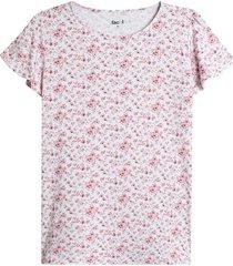 blusa m/c rosas color blanco, talla l