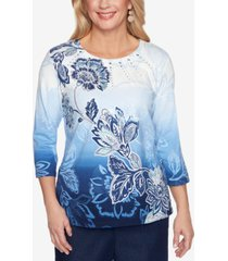 alfred dunner petite classics embellished ombre top