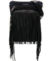 dsquared2 fringe denim shoulder bag - blue