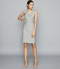 reiss thea - wool blend tailored dress in grey, womens, size 14