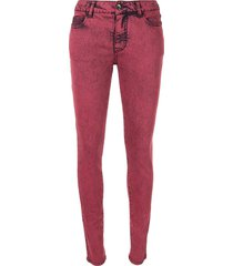 chanel pre-owned 2014 cc logos casual denim long pants - red