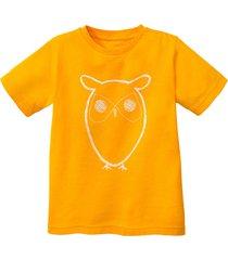 shirt met korte mouw uil van bio-katoen, geel 158/164