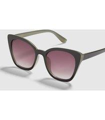 lane bryant women's cateye sunglasses - black & green no black
