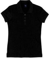 camisa polo básica slim em malha piquê feminina