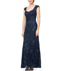 alex evenings embroidered sweetheart gown, created for macy's