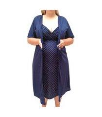 conjunto plus size camisola de alcinha com robe maternidade linda gestante