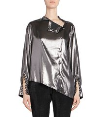 asymmetric metallic blouse